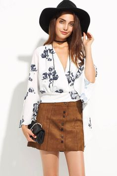 White+V+Neck+Floral+Pattern+Flare+Sleeve+Sexy+Wrap+Blouse+#White+#Blouse+#maykool