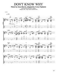Uke Tab - Don't Know why. Norah Jones. Low G. http://www.theukulelereview.com/wp-content/uploads/2014/04/transcribed_corey_dontknowwhy.pdf