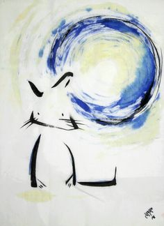 Cat and a Blue Moon / Original brush painting on by yuyuart, $50.00