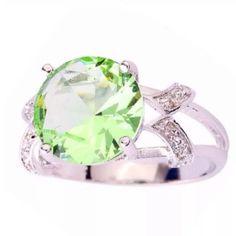 Very Elegant Green Amethyst & White Topaz Ring