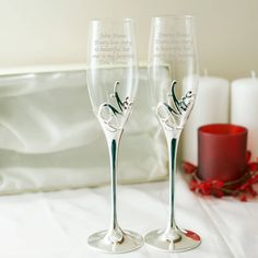 I've just found Engraved Mr And Mrs Champagne Glasses In Box. A luxury set of personalised Mr and Mrs champagne flutes with silver plated stems, plus 'Mr' and 'Mrs' with diamante crystals just add your message!. £46.99