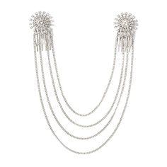 Crystal Pinwheel Medallion and Silver Chain Swag Hair Combs