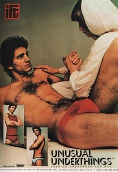 His chest hair is actually a Rorschach test. | 16 Vintage Underwear Ads That Will Give You Nightmares