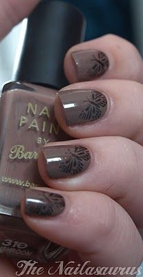 The Nailasaurus: Bundle Monster, butterfly manicure, brown nail polish