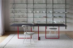 Esstisch modern Design Gazelle-Park Associated-rote Beine-Stuhl