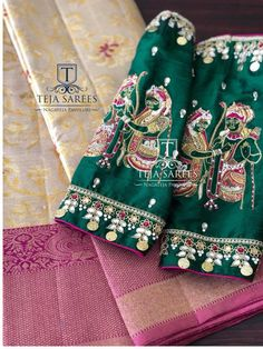 Looking for some customised and thematic blouses for your celebrations ....Come walk-in to Teja store.Team would be glad to assist you ... <br> B-208. Beautiful green color designer blouse sleeves with Lord Rama and Seeta wedding design hand embroidery thread work. <br> For orders/queries Whats app 8341382382tejasarees@yahoo.com. blouses weddings handembroidery newdesigns traditinal tejasarees hyderabad tejupavuluri Stay Amazed!!!Team Teja .. 20 February 2018
