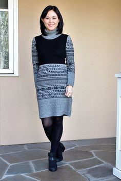 I've been stuck in a major fashion rut this winter.My daily outfit consists of a bulky sweater paired with skinny jeans and boots.It's warm and comfortable but getting b-o-r-i-n-g. I don't have any winter dresses in my wardrobe, so I made this upcycled sweater dress to fill that void.In this tutorial,I'll show you how to take 2 thrift store sweaters and combine them into a winter sweater dress.You can finish this project in an afternoon and wear it the sam… Winter Sweater Dresses, Casual Winter Outfits, Winter Sweaters, Loungewear Outfits, Loungewear Set, Plunge Dress, Shirt Refashion, Refashioned Clothes, Clothes Refashion