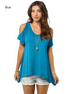 Fashion Ladies Women Off-shoulder Short Sleeve V-Neck Asymmetric Hem Stretch Loose Tops Blouse_Tees / T-shirt_Women_Women's Fashion Zone & Best Price Clothes