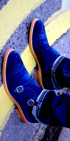 O'Keeffe blue suede monk straps.