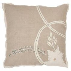 "Linen pillow with a floral accent.   Product: PillowConstruction Material: Linen cover and polyester fillColor: BeigeFeatures:  Insert includedZippered cover Dimensions: 18"" x 18""Cleaning and Care: Dry clean only"