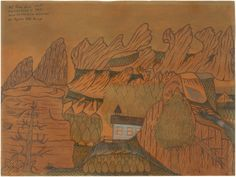"""Joseph Yoakum, """"Mt Taum Sauk 1772 ft Highest Point in State near Lesterville Missouri in Ozark Mtn Range,"""" c. ballpoint pen and colored pencil on brown paper, varnished Native American Heritage Month, National Gallery Of Art, Brown Paper, Art Object, Ballpoint Pen, High Point, American Indians, Colored Pencils, Missouri"""