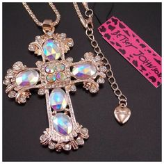 """Party Sale! BJ Crystal Cross Pendant Necklace! NWT, Beautiful Betsey Johnson Fashion inlaid Crystal Cross Pendant Necklace! Cross sparkles with Beautiful Colors! Buy for yourself or would make a perfect Christmas gift! Necklace Length 28"""", Pendant ~ 8cm X 6cm. Please ask any questions before purchasing!Price FIRM unless Bundled! ❌Trades ❌PP Betsey Johnson Jewelry Necklaces"""