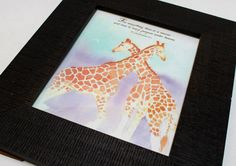 """Soft watercolor of giraffes with verse: For everything there is a season and time for every purpose under heaven. Ecclestiastes 3:1 Print measures 8"""" x 10"""" on acid free watercolor textured cardstock Frame not included. Original art by Lenila L. Batali"""