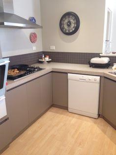 The kitchen BEFORE. #paintinglaminatekitchen #milkpaint