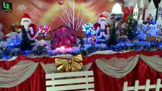 Decoração de festa infantil de Natal com árvore decorada