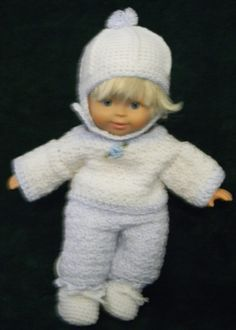 "White snow suit for 14"" doll"