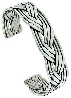 Sterling Silver Braided Wire Cuff Bangle by TemptingJewels on Etsy, $220.25