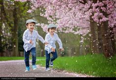 Two adorable boys in a cherry blossom garden in spring afternoon - stock photo