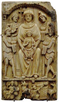 Panel de marfil,bizantino,siglo VI,proveniente del Monasterio de Tesalia,Grecia
