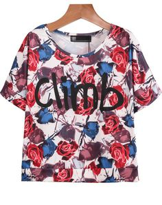 Red Short Sleeve Rose Climb Print T-Shirt pictures