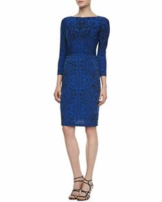 Long-Sleeve Lace-Print Jersey Dress by David Meister at Neiman Marcus.