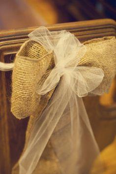 burlap & chiffon sash- Style Me Pretty Fall Wedding, Diy Wedding, Dream Wedding, Wedding Ideas, Wedding Stuff, Wedding Country, Wedding Things, Wedding Bells, Burlap Pew Bows