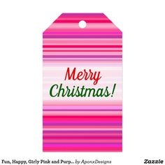Fun, Happy, Girly Pink and Purple Stripes Pattern Christmas Gift Tags, Merry Christmas, Purple, Pink, Girly, Stripes, Letters, Happy, Cards