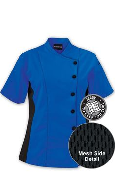 Women's Short Sleeve Chef Coat - Side Mesh Panels - 65/35 Poly/Cotton $27.99 http://www.chefuniforms.com/chef-coats/womens-chef-coats/86717-womens-chef-coat.asp?frmcolor=ocbla