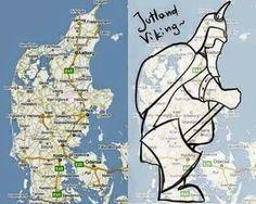 A funny drawing of Jutland in Denmark. Vikings, Denmark Map, Some Beautiful Images, Funny Drawings, Odense, Funny Cute, Norway, City Photo, Scandinavian