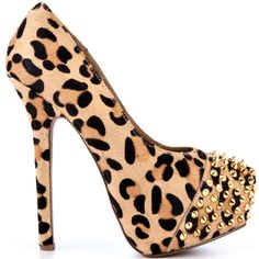 Be bold in this sizzling stiletto by Steve Madden.  A soft pony hair upper is printed with a fierce leopard pattern.  Create an edgy vibe with the gold spiky studs while a towering 6 inch heel and 1 1/2 inch hidden platform gives you rocker chic attitude.
