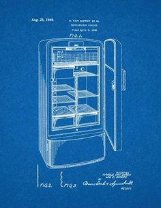 Refrigerator patent print art poster blueprint 11 x 14 refrigerator patent print art poster blueprint 11 x 14 malvernweather Images
