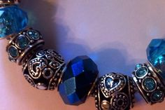 European Pandora style bracelet with blue glass beads on Etsy, $30.00