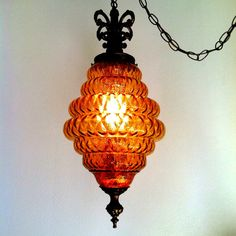 mid century modern optic glass swag lamp vintage by jrp1943