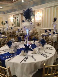 Sweet 16 , masquerade theme. Royal Blue , white , & silver.