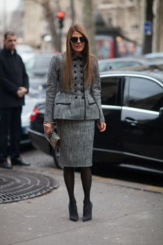 Anna Dello Russo in Grey skirt suit Street Style Paris #Fashion Week Fall 2013 #pfw
