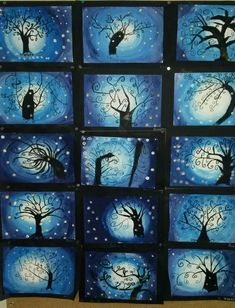 L'arbre en hiver PlusL'arbre en hiver A gradient of white - blue then drawing of a tree in the manner of Gustav Klimt and finally, decoration with aluminum paper.Der Baum des Lebens (im Winter) / Jazz Photo Source Art For Kids, Crafts For Kids, Classe D'art, January Art, 6th Grade Art, Winter Art Projects, Middle School Art, Art Lessons Elementary, Art Classroom