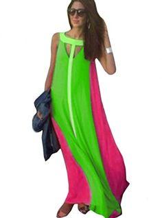 OURS Women's Summer Sleeveless Boho Beach Long Maxi Chiffon Dress