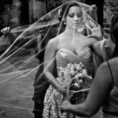 This sheer veil placed over the bride before she goes down the aisle is absolutely breath-taking! (As is this whole wedding!) #weddinggawker