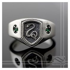 Slytherin House Ring, Harry Potter Inspired ❤ liked on Polyvore featuring jewelry, rings, green ring, green silver ring, silver jewellery, silver jewelry and silver rings