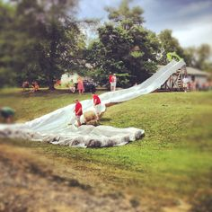 Ultimate DIY water slide. This was super fun! Creator even mixed soap with the water for an even more slippery slide. Awesome!