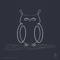From Bestiario Lineare - Andrea Austoni. This outline could be the basis of an owl pendant made from wire. Buho Tattoo, I Tattoo, Owl Crafts, Wire Crafts, Owl Outline, Tattoo Outline, Owl Tattoo Design, Kunst Poster, Owl Art