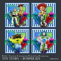 Toy Story Bumper Kit by Isabel Neves Toy Story Bumper KitBumper Kit Includes8 Sheets  4 Card Fronts  4 Decoupage Sheets  8 Tiles (Gift Tags) 8 Sentiment Tags. Perfect collection for various occasions.Card Size Approx 7.5 x 7.5 Sentiment Tags Read Happy Birthday & Blank
