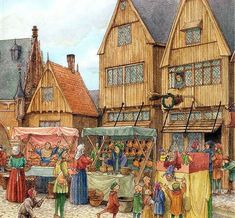 Medieval Market, Medieval Life, Market Stands, History Class, Dark Ages, Primary School, Middle Ages, Windmill, Dog Life