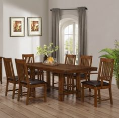 DR49 Brown Mahogany Seven Piece Dining Set