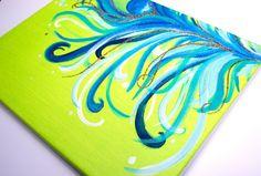 Glitter Peacock Feather Canvas Art via Etsy
