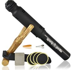 SportyGorilla EMERGENCY MINI BIKE PUMP - Perfect for Avid Bikers - Fits Presta and Schrader Valve of All Bike Tires - BONUS Needle Adapters and Tire Repair Kit - FREE E-BOOK for TOP Experience ** Continue to the product at the image link.