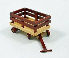 Dollhouse Miniature Wooden Wagon in Natural & Red Wood Color with Movable Parts for 1 Inch Scale 1:12 Doll House by Aztec Imports, Inc.