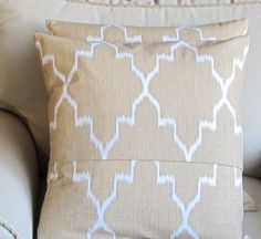 Ikat Straw color  on White /TWO pillow covers 18x18 same fabric front and back WITH INSERTS. $85.00, via Etsy.