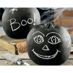 Unique ones !!! Chalkboard Pumpkins,just paint with a spray chalkboard and have fun !