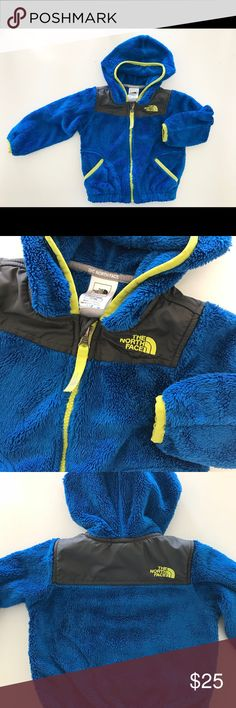 The North Face toddler fleece Denali jacket The North Face baby boys fleece jacket / absolutely loved this and is cozy enough to layer for WI winters and still safe for the car seat! Royal blue with neon trim, size 12-18 months, my 26lb 19month old just outgrew. In VGUC no stains holes or flaws. The North Face Jackets & Coats